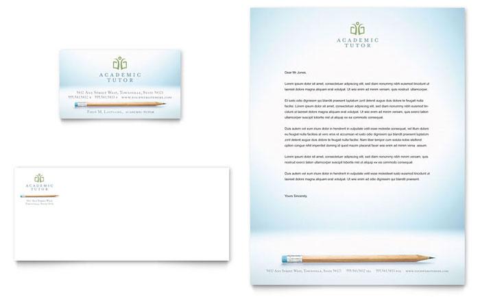 Academic Tutor Amp School Business Card Amp Letterhead