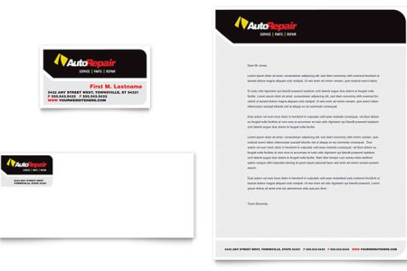 Auto Repair Business Card   Letterhead Template   Word   Publisher