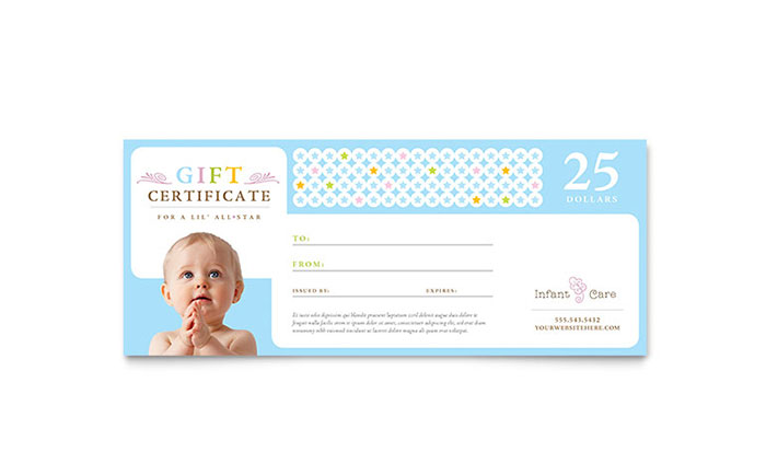 Infant Care Babysitting Gift Certificate Template Word
