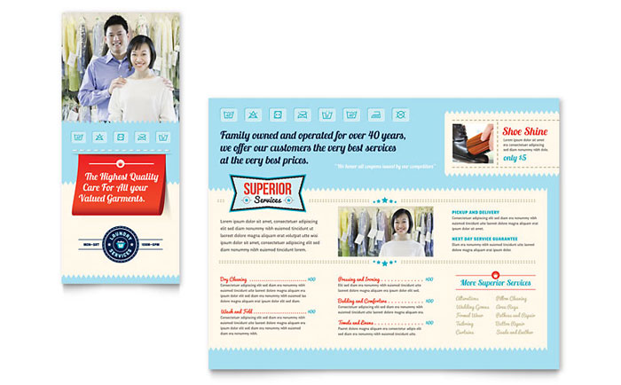 Laundry Services Brochure Template Word Publisher