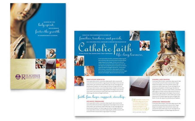 Catholic Parish and School Brochure Template   Word   Publisher