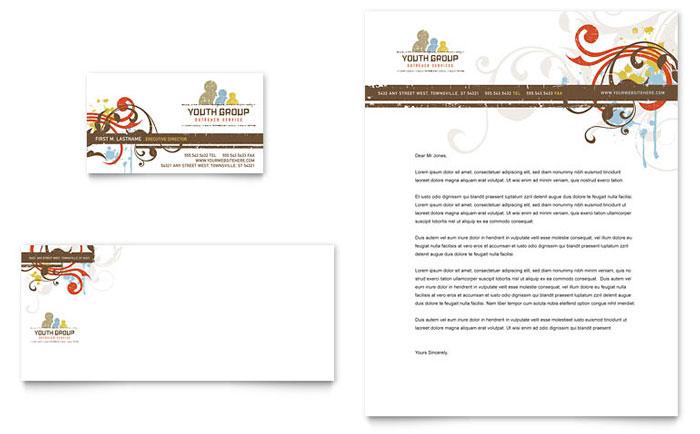 Church Youth Group Business Card Letterhead Template