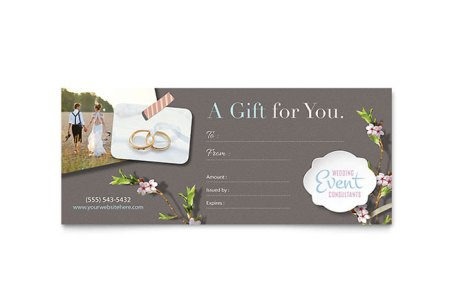 Wedding Planner Gift Certificate Template   Word   Publisher