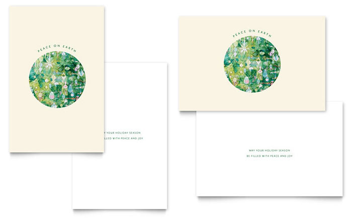Peace On Earth Greeting Card Template Word Amp Publisher
