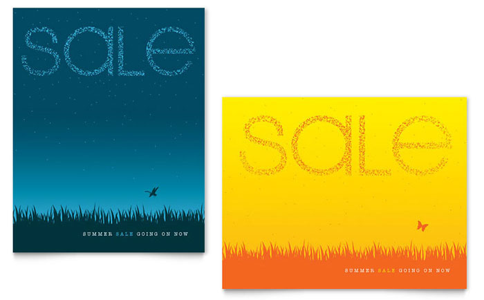 Summer Sky Sale Poster Template Word Amp Publisher