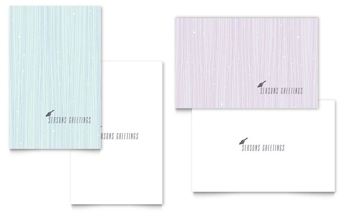 Snow Bird Greeting Card Template Word Amp Publisher