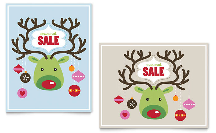 Reindeer Ornaments Sale Poster Template Word Amp Publisher