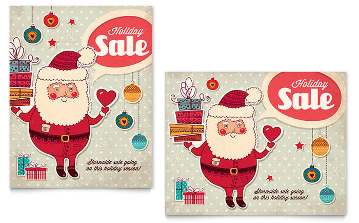 Retro Santa Sale Poster Template Word Amp Publisher