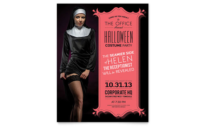 Halloween Costume Party Flyer Template Word Publisher
