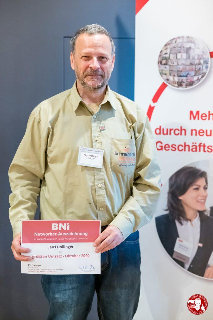 Jens Dollinger mit Auszeichung im BNI-Chapter Trollinger Heilbronn