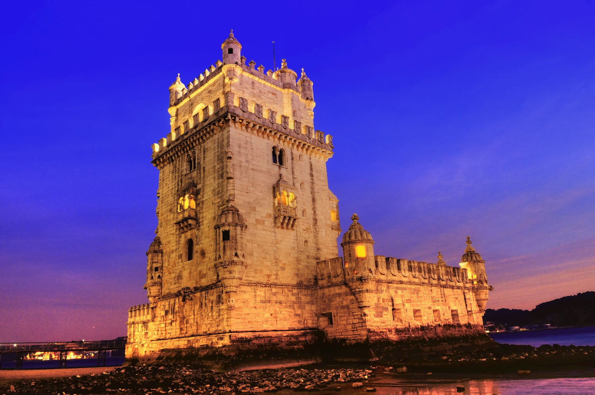 lisbon portugal belem tower night sunset lights