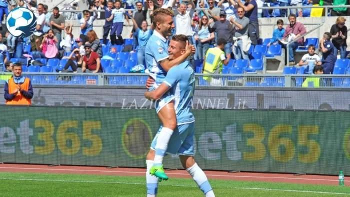 Immobile e Milinkovic-Savic esultano al gol della Lazio