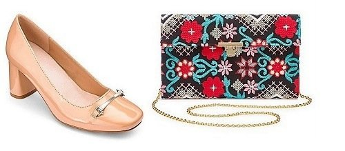 JD Williams shoes and embroidered clutch bag