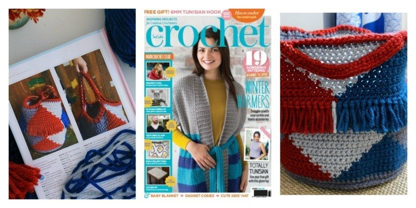 Lazy Daisy Jones crochet log basket Inside crochet magazine