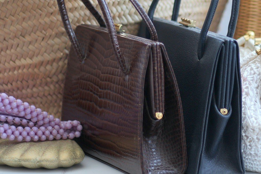 An assortment of vintage bags