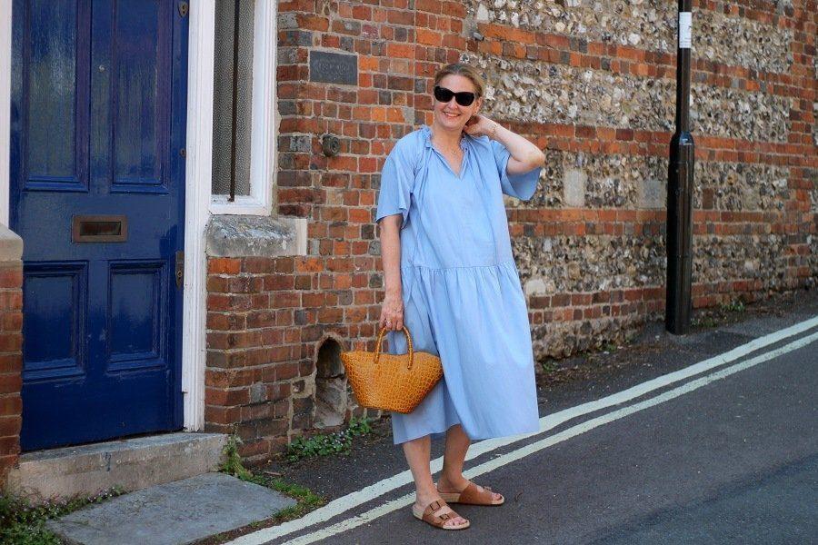 arket blue dress a line shape