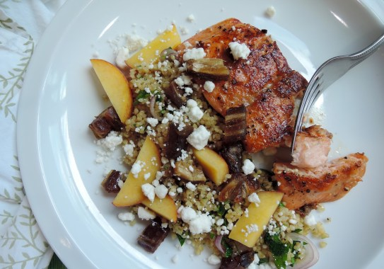 Brown Sugar-Seared Salmon with Bulgur, Peach, and Dates1
