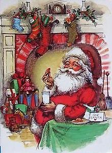 vintage-christmas-card-unused-santa-eating-his-cookies