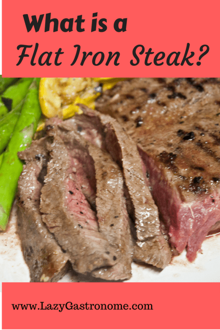 "What is a flat iron steak?    It is part of the beef shoulder near the heart and the clod, just under the shoulder blade.  Also sold as a ""top blade"" steak, it has a lot of marbling and a fascia (gristly membrane) that runs down the middle."