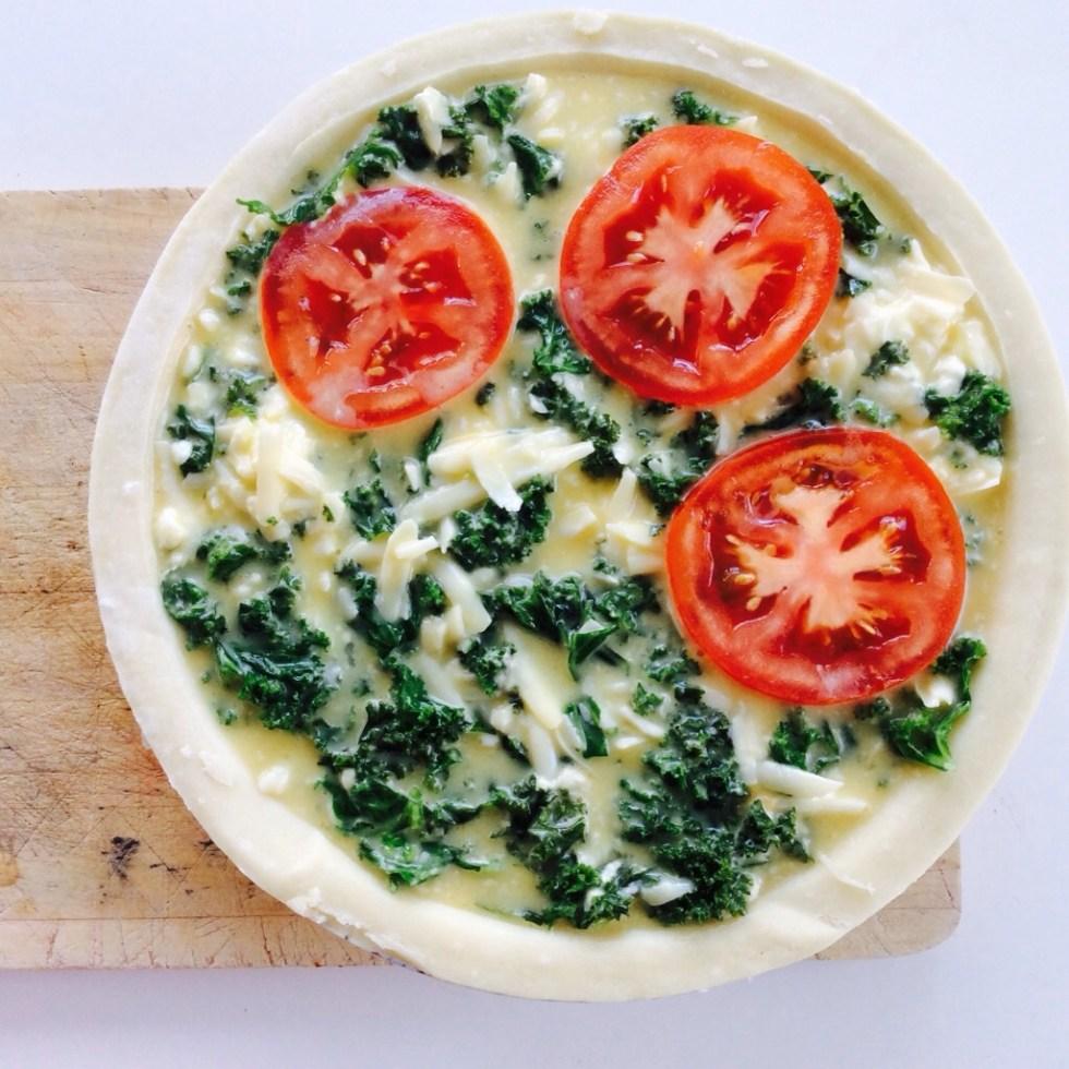 Kale & tomato cheesy quiche