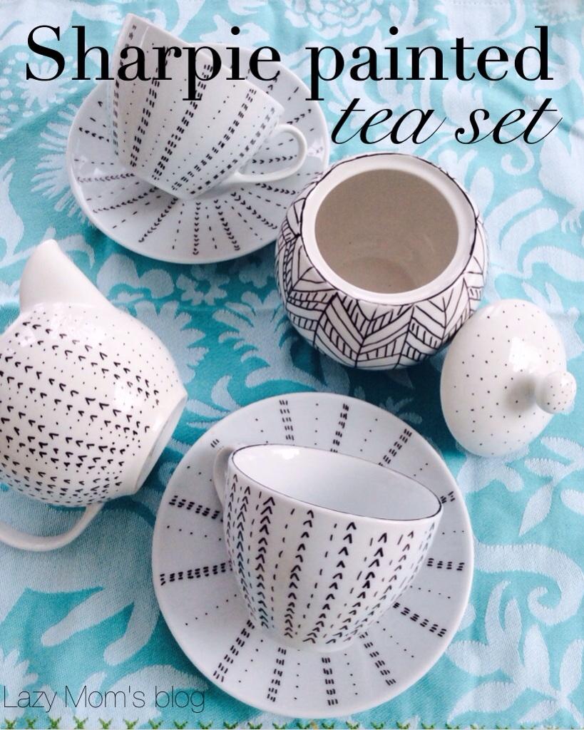 Sharpie painted tea set