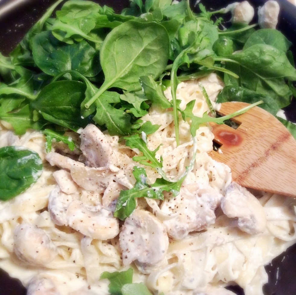 & mushroom & ricotta creamy green pasta