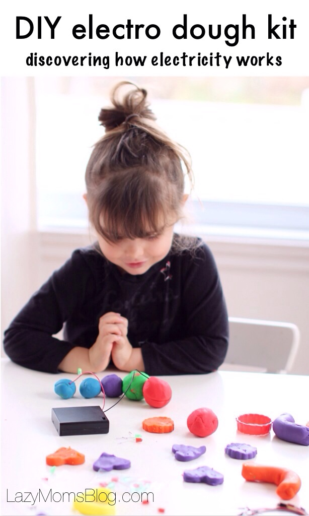 Let your child play with light and sound while discovering science! Such a fun way to teach your kids about electricity while playing with play dough!