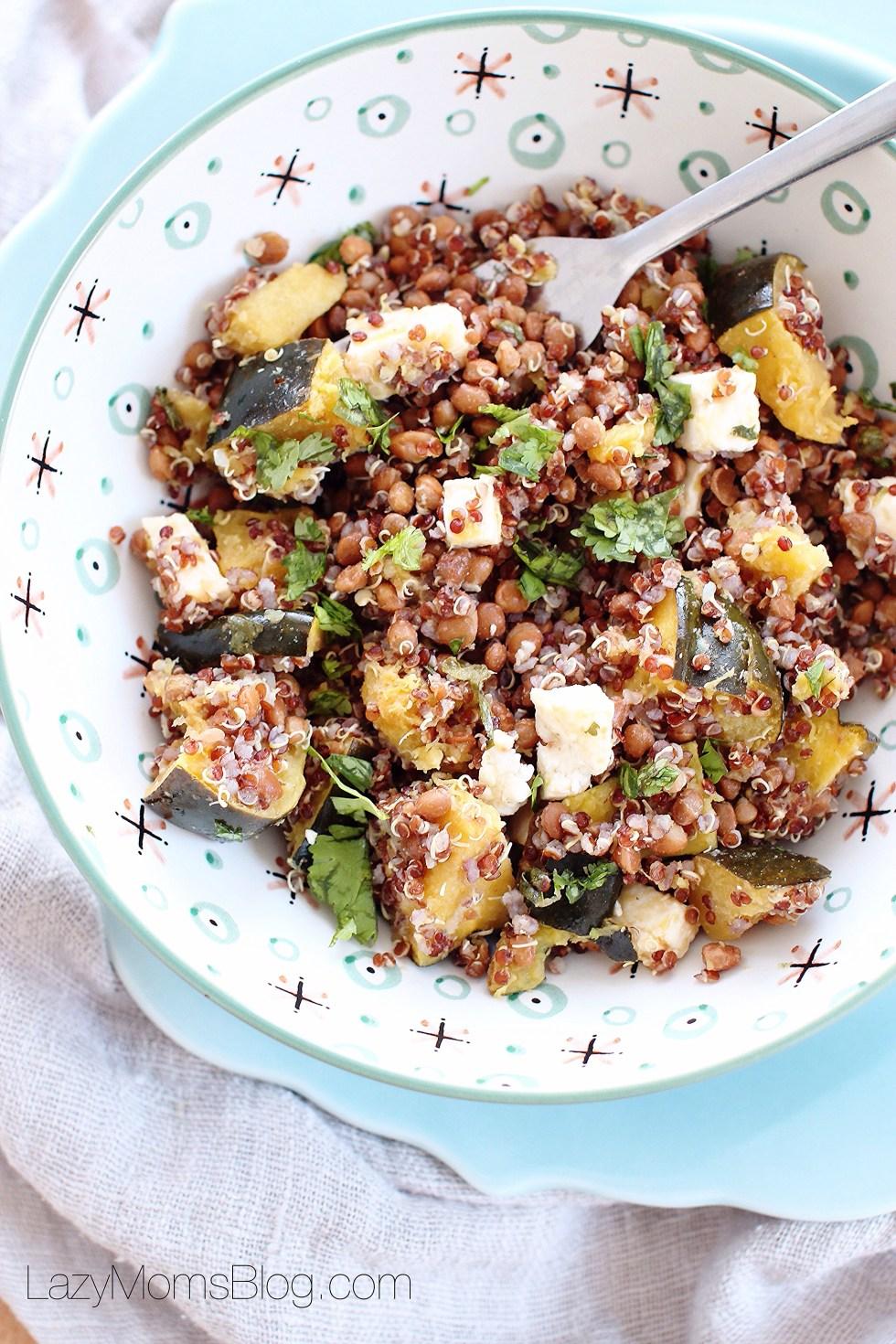 Warm lentil quinoa bowl
