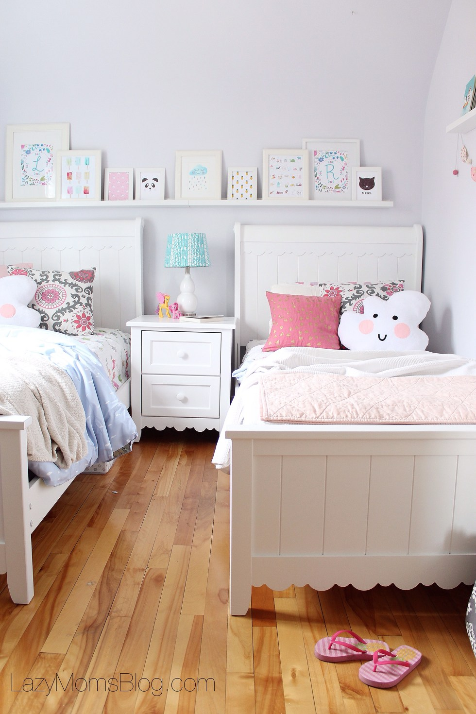 Pastel shared bedroom