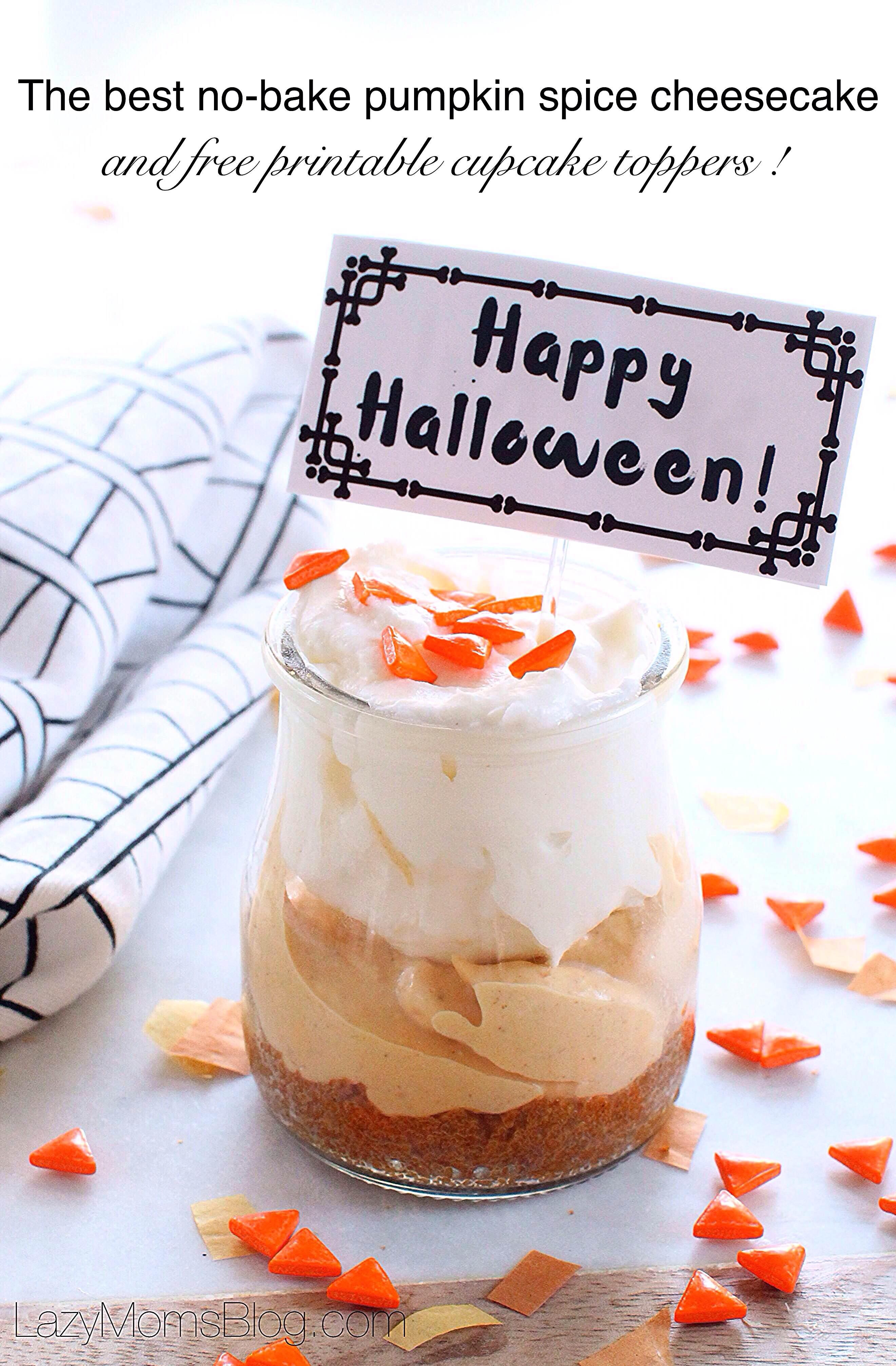 No bake pumpkin cheesecake, Halloween style - Lazy Mom's blog