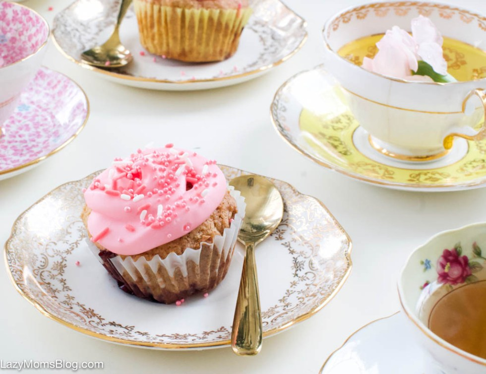 Tea time cherry muffins with cream cheese icing