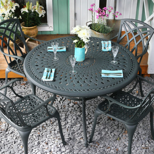 alice slate 4 seater set 120 cm round cast aluminium patio table set
