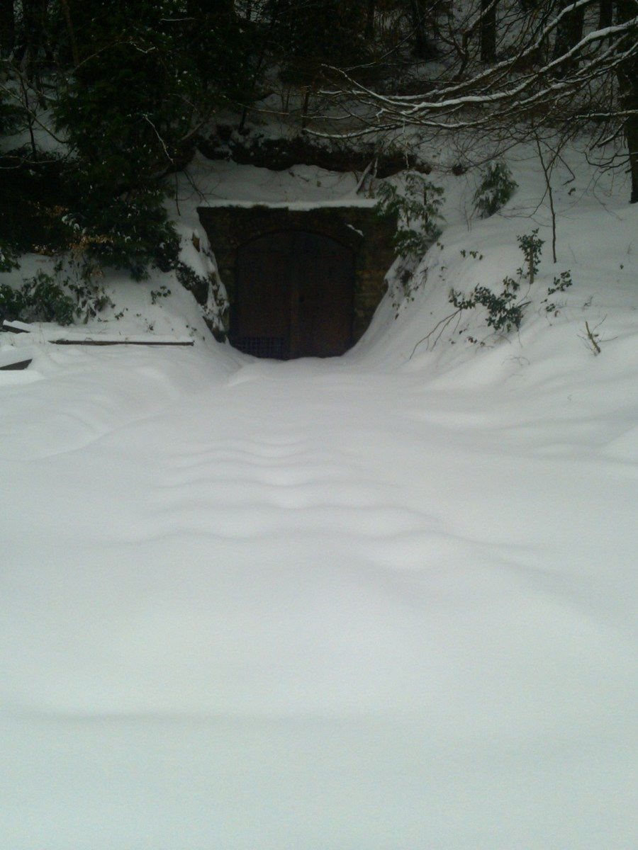 Mine entrance in the snow
