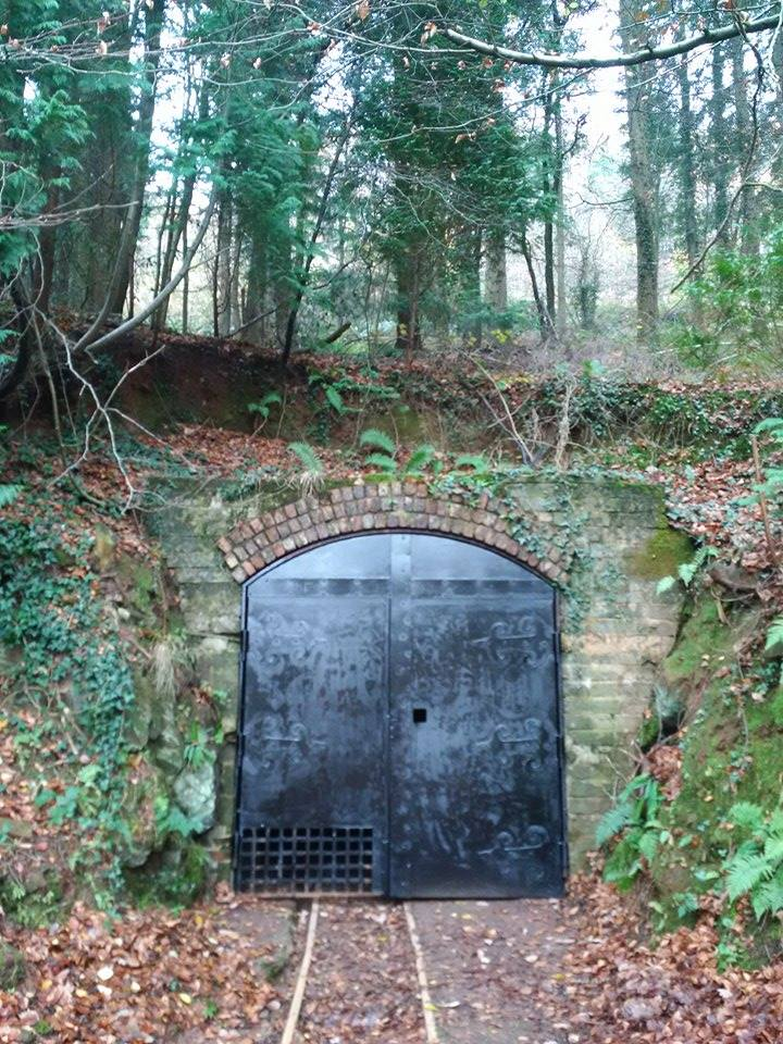 The mine door with black paint