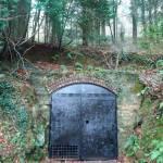 The mine door with black paint