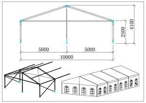 schéma chapiteaux de réception 10 mètres A