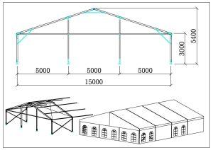 schéma chapiteaux de réception 15 mètres