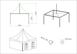 schéma tente de réception 5 mètres