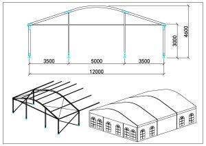 schéma chapiteaux dôme 12m