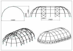 schéma chapiteaux grand dôme 25 mètres