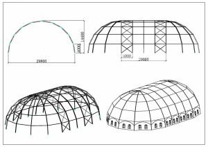 schéma chapiteaux grand dôme 30 mètres