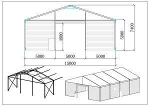 schéma structure chapiteaux entrepôt 15 mètres