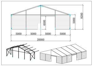 schéma structure chapiteaux entrepôt 20 mètres