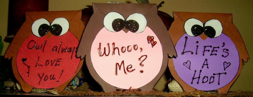 Owl Valentine Card Kids Glitter