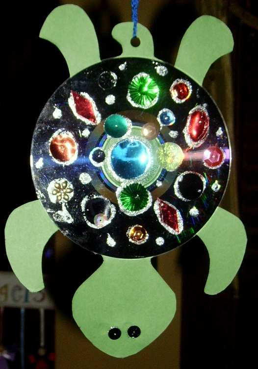 Hanging Cd Turtle Kids Glitter