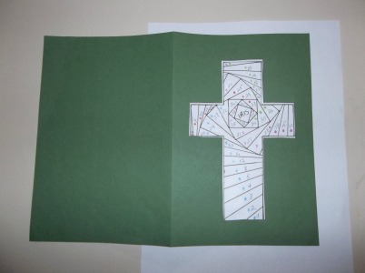 cardstock cross cutout over pattern
