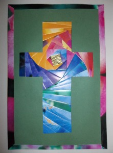 finished iris fold cross with edging