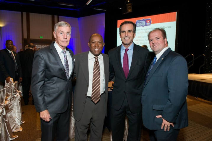 Council Member Jack Christie, Mayor Sylvester Turner, Bob Woodruff, Harris County District Clerk Chris Daniel