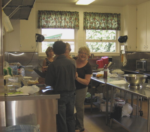 Interior of the kitchen as members prepare for potluck