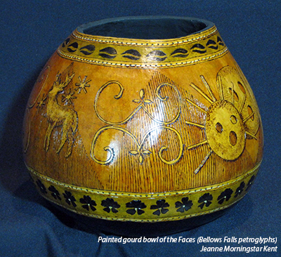 Painted gourd bowl of the Faces (Bellow Falls petroglyphs). Jeanne Morningstar Kent.